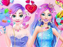 Ellie and Eliza in Candyland
